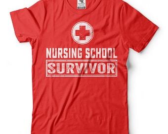 Nursing School Survivor T-Shirt Funny Nurse Tee Shirt Graduation Gift Shirt
