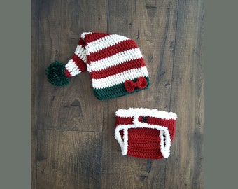 Crochet elf hat and diaper cover, baby elf hat, baby gift, crochet baby hat, baby girl newborn picture, christmas baby, newborn photo prop