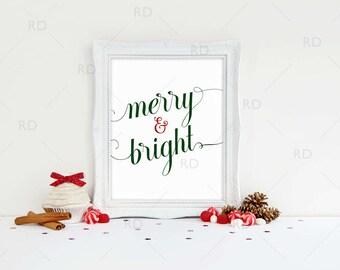 Merry and Bright - PRINTABLE Wall Art / Merry & Bright Printable / Holiday wall art / Christmas Art / 2 color options / Christmas Printable