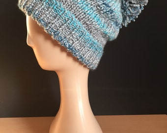 Hand Knitted bobble hat - grey/blue/turquoise (seaspray)