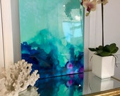 """Ready to ship! Abstract Painting Blue, Green, fuchsia, Pastel, Ombre Resin Coat 20"""" x 24"""""""