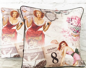 Pin-up girls cushion pillow cover - 18in 45cm  - housewarming gift -retro home decor -  vintage home decor