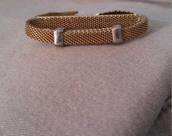 Swank Gold Metal Mesh Belt Style Tie Clip