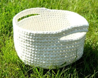Crochet housewarming basket gift|for|her home|decor nursery organization storage containers basket with handle bathroom organizer toy basket