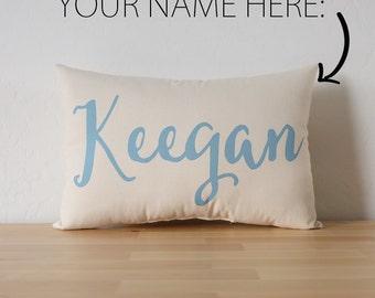 Custom Name Cotton Canvas Pillow - Nursery - Kids' Room - Teen's Room - Dorm Room Decor - Birthday Gift - Baby Shower Gift - Accent Pillow