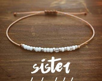 Sister Morse Code Bracelet - Best Friend Gift - Gift for Her - Sister Bracelet - Beaded Bracelet - Friendship Bracelet