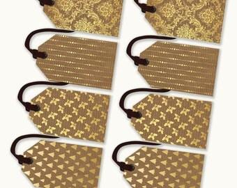 Printable Christmas Tags - Merry Christmas Gift Tags - Tags - Set of 4 designs - Gold and Kraft Christmas Tags - Holiday Gift Tags
