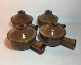 Vintage Stoneware Onion Soup, Chili Bowls, Crocks With Handles and Lids Set of 4
