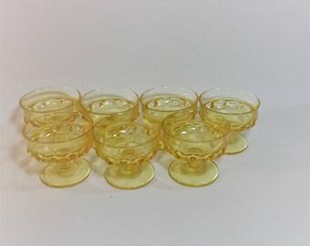 Vintage Yellow Tiffin Indiana Glass Kings Crown Thumbprint Dessert Glasses Set of 7
