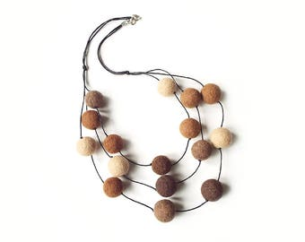 Felted necklace felt necklace felted balls felt balls brown beige necklace balls wool necklace spring women's gift