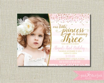 Princess Birthday Invitation, Third Birthday, Princess Invitation, Pink and Gold, Glitter, Birthday Invitation, Princess, Three, Digital