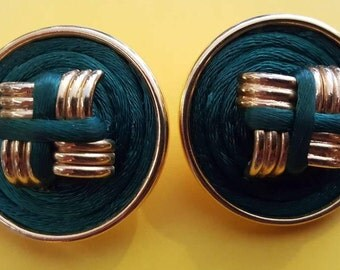 ROPE CLIP ONS // 80's Gold Forest Green Clip On Earrings Circles Circular 90's