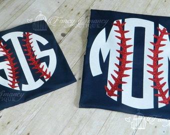 Adult Mom Sis Baseball Softball Shirt Laces Womens Girls Glitter Monogram Initials Name School Sports Mascot Team Son Daughter Plays Ball