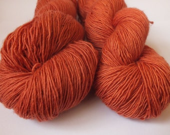 hand dyed yarn, merino single, natural dye, madder, red