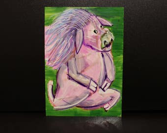 Powwie the Pretty Pig - by Eilidh Morris Art - Bright Long hair Animal Artwork - small happy art Cute illustration
