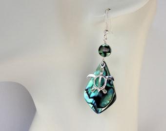Abalone Shell Earrings, Honu Earrings, Hawaiian Shell Earrings, Paua Earrings, Honu Charms, Abalone Pendant Earrings, Gifts for Her, Abalone