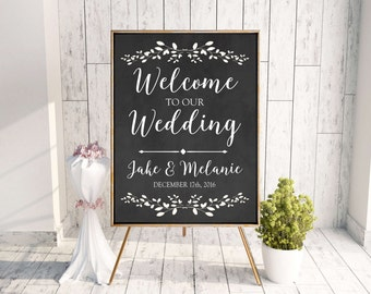 Wedding sign Welcome to our wedding Gold foil effect custom