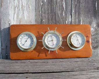 Vintage Sunbeam Ships Wheel Wood Weather Station With 3 Gauges Thermometer Barometer Humidity Level, Wood Nautical Home Decor