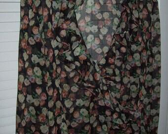 Vintage Ralph Lauren Floral Ruffled Blouse - Over Blouse Wrap to Wow Vintage Fans ! Size XL