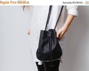 Small black leather bag,Black bucket bag,Black Leather crossbody bag,Christmas sale