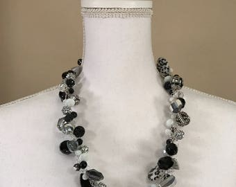 Black and White Crocheted Wire Necklace - FREE Shipping