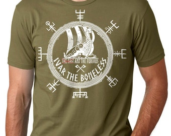 Viking T-Shirt Ivar The Boneless Tee Shirt Valhalla Odin Sign Valknut Viking's Rune Tee Shirt