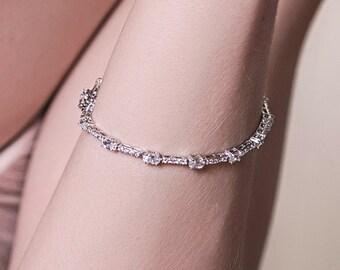 CZ Tennis Bracelet, Silver Bridal Love Bracelet, Layering Bracelet, Minimalistic Swarovski Bracelet, Dainty Wedding Jewelry, B242-S