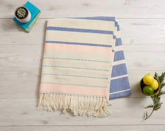 Mexican Blanket, Large Mexican Tablecloth, Large Picnic Towel, Beach Blanket, Sofa Throw, Bedspread . Pantone Blue, Cream and Rose . Serape