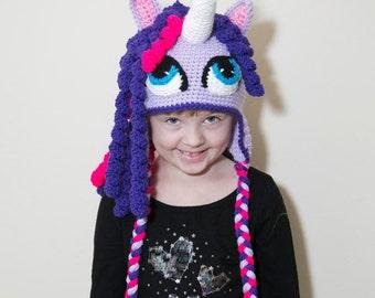 Purple Pony Crochet Hat/Curl Hair Hat/Cartoon Pony Beanie/Neon Pink and Purple Hats/Unicorn Hats/Magical Ponies/Unique Kids Hats/Kids Gifts