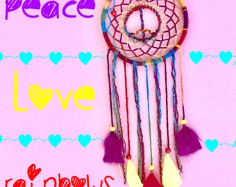 15% OFF! Rainbow Peace Sign Dream catcher