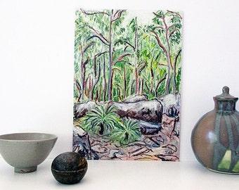 Original Australian Art, Gum Trees, Landscape Drawing, Oil Pastel, Australian Landscape, Woodland, Vertical A4 Unframed, Gift for Him