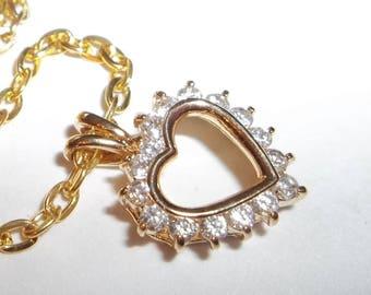 Rhinestone  Sweet Heart Pendant Necklace