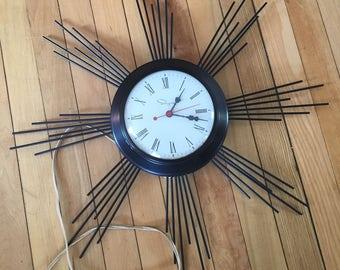 Vintage 1950s Black Ingraham Electric Star Clock!