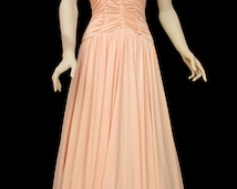 Elegant Vintage 1970's 70's Midi Ruched Summer Peach Party Cocktail Dress Size 10 Small