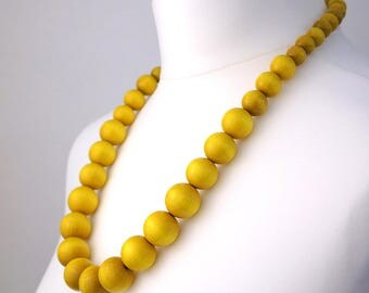 Long Yellow Chunky Necklace | Yellow Wooden Bead Necklace | Yellow Statement Necklace