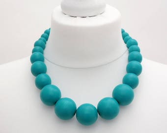 Turquoise Chunky Necklace | Turquoise Wooden Bead Necklace | Turquoise Statement Necklace
