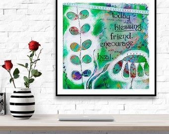 Green Wall Art - Inspirational Wall Art - Intuitive Painting - Mixed Media Art - Whimsical Art - Motivational Quotes - Gift for Best Friend
