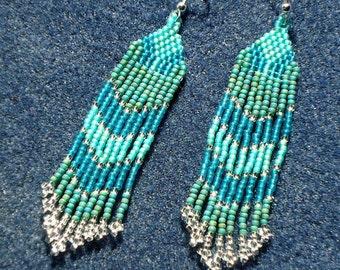 Seed bead earrings, beaded jewelry, shoulder dusters, Native American inspired, beaded jewelry, boho, southwestern, fringe, tassel, teal