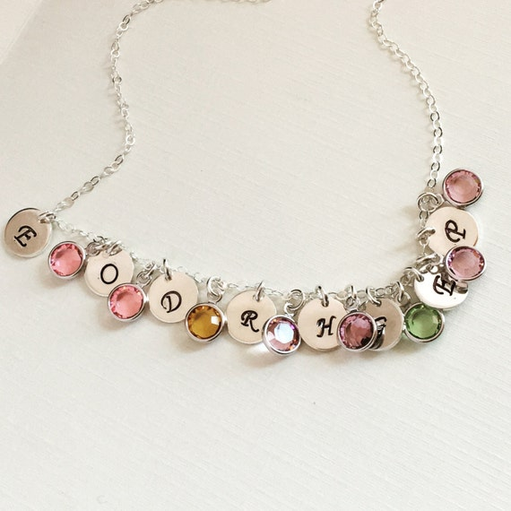 mothers birthstone necklace mothers day gift sterling silver
