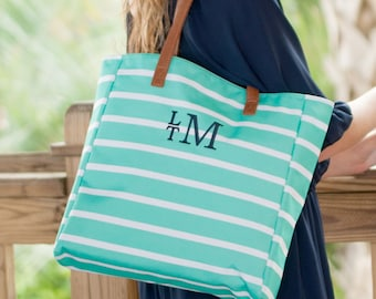 Tote Bag, Mint Green,  Stripe Tote Collection, Monogrammed Tote
