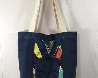 Tote Bag - Upcycled Denim  & Upholstery Fabric- Bold