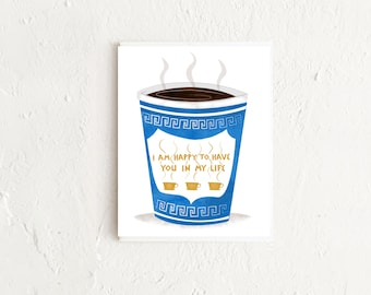 Coffee Card, Coffee Cup Card, Greek Coffee Cup, Thinking of You Card, Friendship Card, Appreciation Card, Thank You Card, Anniversary Card