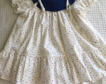 Vintage baby toddler dress with multi-coloured love hearts and blue collar. Size 1.
