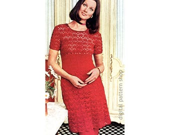 Crochet Dress & Pants Pattern Lace Midriff Dress and Trousers Crochet Pattern Lacy Tunic and Pants PDF Download- C203