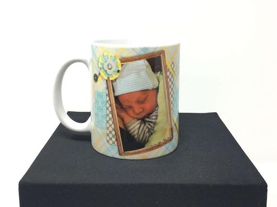 Newborn Baby Photo Mug, New Baby Mug, Personalized Birth Mug, Birth Statistic Photo Mug, Photo Mug, Baby Mug, Grandparent's Mug, Godparents