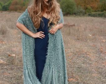 Hand knit shawl, gray hand knit women's wrap, faux fur formal stole, formal evening shawl, gray evening wrap, luxury shawl, READY TO SHIP