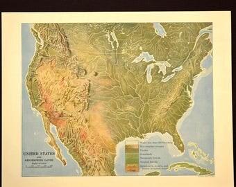Vintage United States Map Etsy - Us map terrain