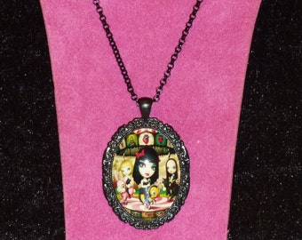 Mark Ryden - Clear Hearts Grey Flowers / Jack Off Jill Inspired Black Ornate Cameo Necklace