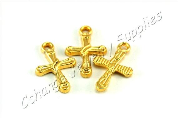 5 pcs gold cross charms 21mm x 14mm gold cross pendant 24k like this item aloadofball Gallery