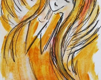 Angel Painting Art Print, A4 Print, Birthday Gift, Gift Idea, Gift for her, Gift for Mom, Anniversary gift, Romantic Gift